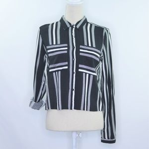 Paper Tee Striped Button Down Top